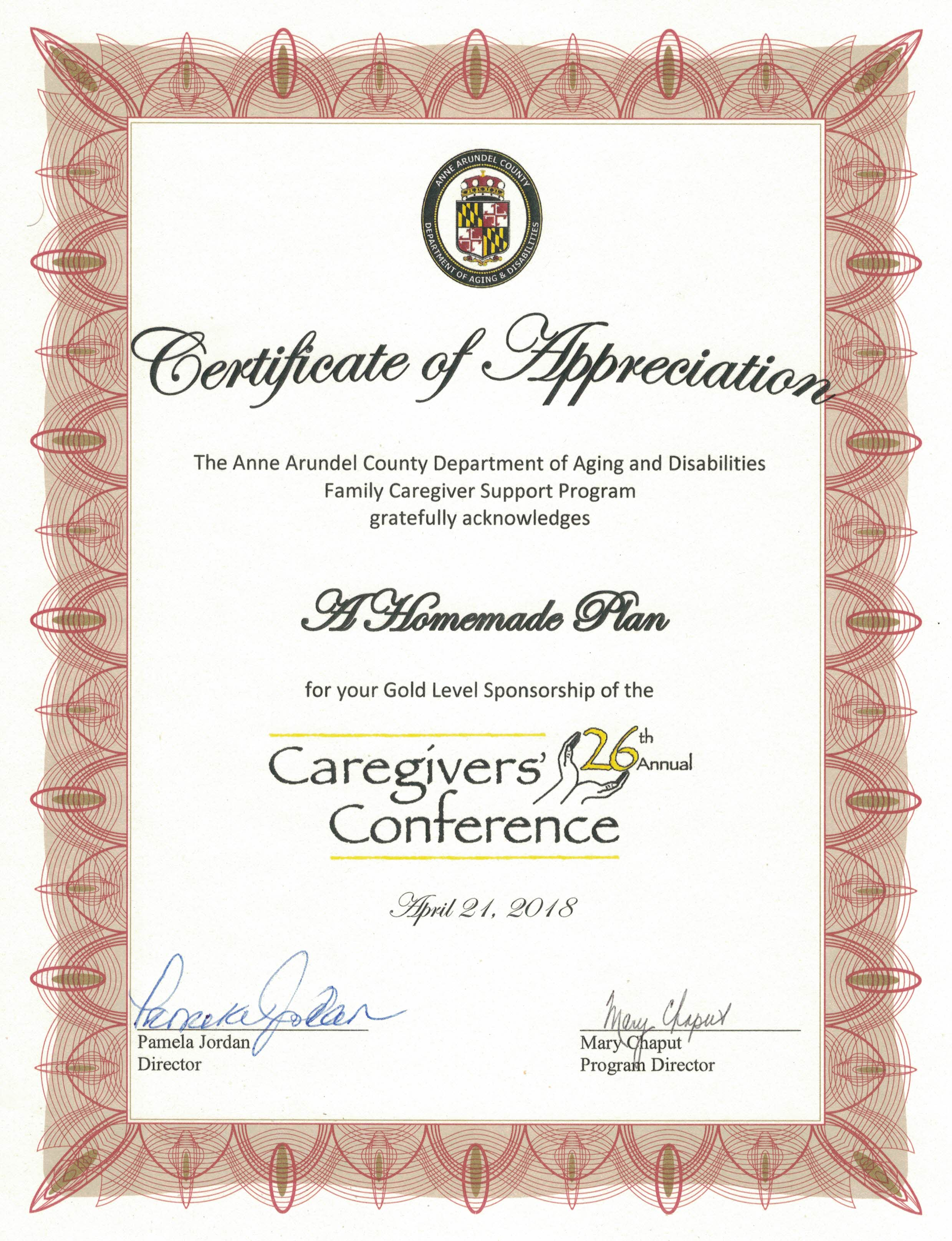 Anne Arundel County Md Certificate Of Appreciation A Homemade Plan